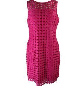 NWT Ralph Lauren Geometric-Lace Shift Dress RED 14